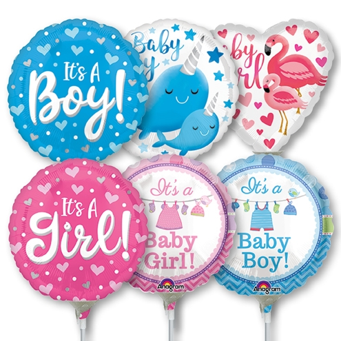 9 Inch Mini Baby Pre Inflated Stick Balloons 30 Pk