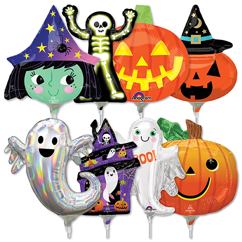 14 inch halloween preinflated mini shape stick balloons