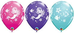 11 Inch Merry Mermaid & Friends Latex Balloon Assortment 50pk