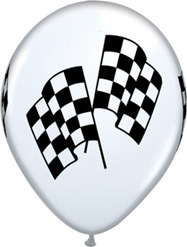 11 Inch Racing Flag White Latex Balloons 50 pk