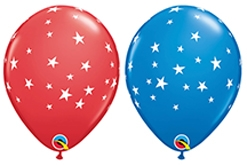 11 Inch Red & Blue Contempo Star Flag Latex Balloons 50pk