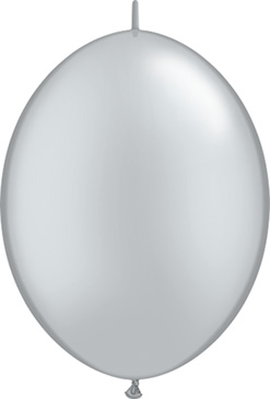12 Inch Silver Quick Link Latex Balloons 50pk