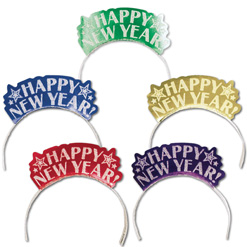 7.5 Inch x 5.5 Inch New Year Tiara Assortment 12 pk.