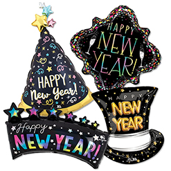 New Year Shape Balloons ProfitPak 10 pk