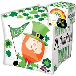 15 Inch Cubez Happy St Patrick's Day Pot of Gold Balloon